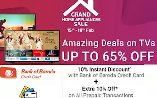 LED TV upto 65% Off + Extra 10% Off on Pre-paid Orders + 10% Off on BOB Credit Card