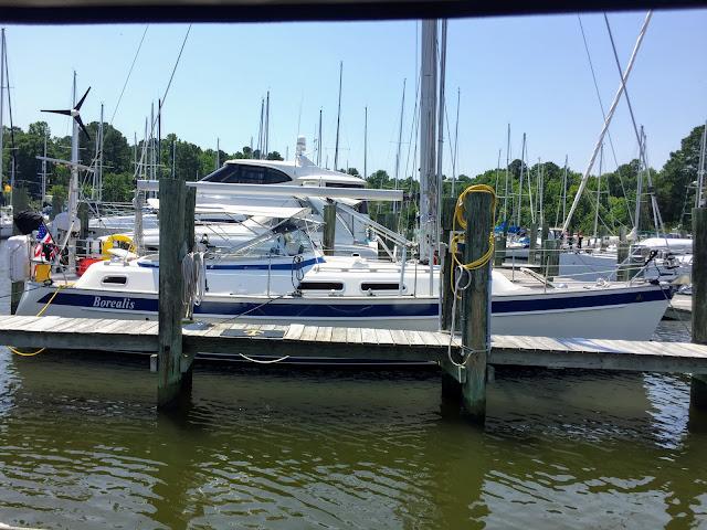 Hallberg-Rassy 37 Borealis water slip marina dock