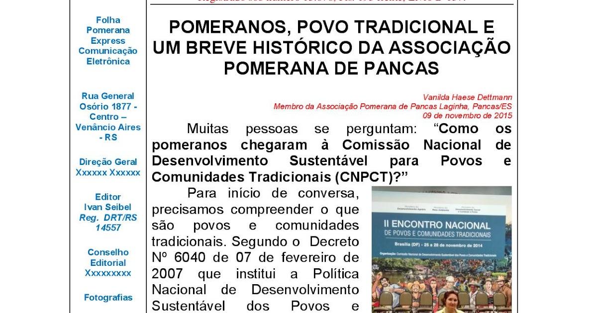 Folha Pomerana Express: N° 114, 2015  POMERANOS, POVO