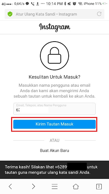 Lupa Password Instagram