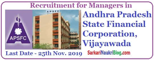 APSFC Manager Vacancy Recruitment 2019