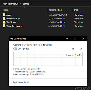 pemindahan file backup
