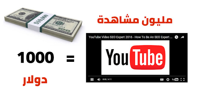 مليون مشاهدة في اليوتوب تساوي 1000 دولار