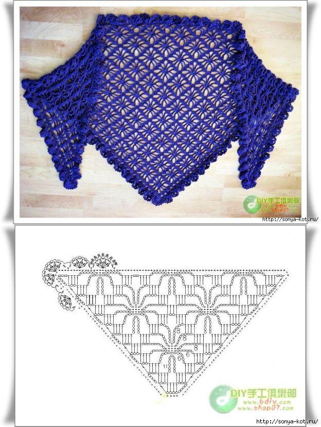 Mes Favoris Tricot Crochet 18 Grilles De Châles Au Crochet