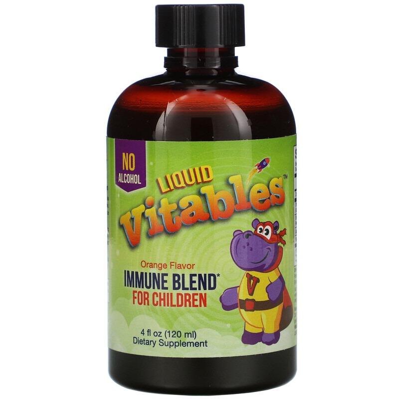 Vitables, Детская жидкая добавка для укрепления иммунитета, без спирта, со вкусом апельсина, 120 мл (4 жидк. унции)