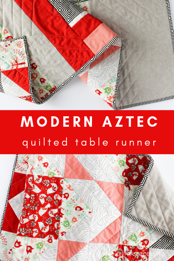 Holiday Modern Aztec Table Runner | Best of 2019 | Shannon Fraser Designs #diytablerunner #quilting #tabledecor