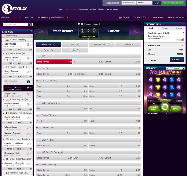 BetOlay Live Betting Offers