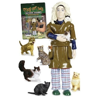 Image: Accoutrements Crazy Cat Lady Action Figure Set | Every town has a Crazy Cat Lady. She's the one who lives in a tiny house full of feral felines
