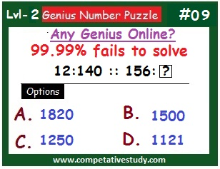Number Puzzle: Find the missing number: 12 : 140 :: 156 : ?