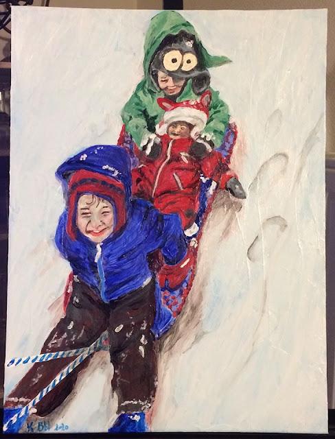 peinture acrylique de Karine Babel, enfants sur une luge dans la neige
