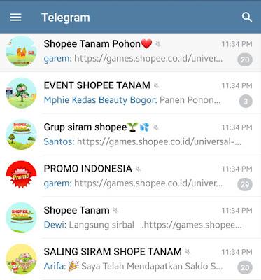 List Link TAUTAN  GRUP Telegram Shopee Siram Tanam