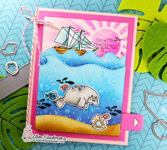 Go with the Flow by Ellen features Message in a Bottle, Sunscape, Land, Sea, Purr-maid, Narly Mermaids, Shark Bites, and Manatee-rific by Newton's Nook Designs; #newtonsnook