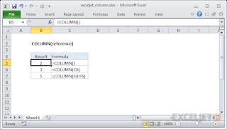 صيغ الدالة COLUMN واستخدامها في برنامج Microsoft Excel.