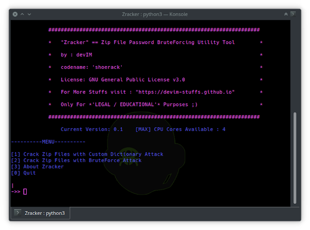 Zracker – Zip File Password BruteForcing Utility Tool based on CPU-Power