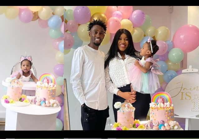 Leicester Midfielder, Wilfred Ndidi And Wife Dinma Celebrate Their Daughter As She Clocks 1 (Photos)