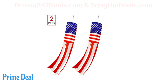 PINCHUANG 2Pcs American US Flag Windsock Stars and Stripes for Flag Day and 4th of July Decorations Outdoor(40 Inch)