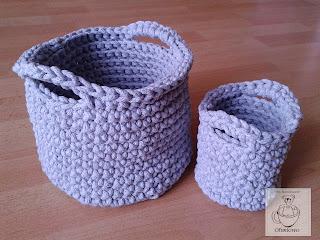 Szare koszyki ze sznurka bawełnianego - Ofuniowo