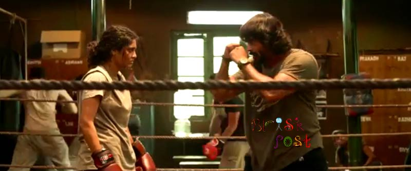 Boxer R Madhavan teaching boxing to Ritika Singh as Coach Adi in Saala Khadoos