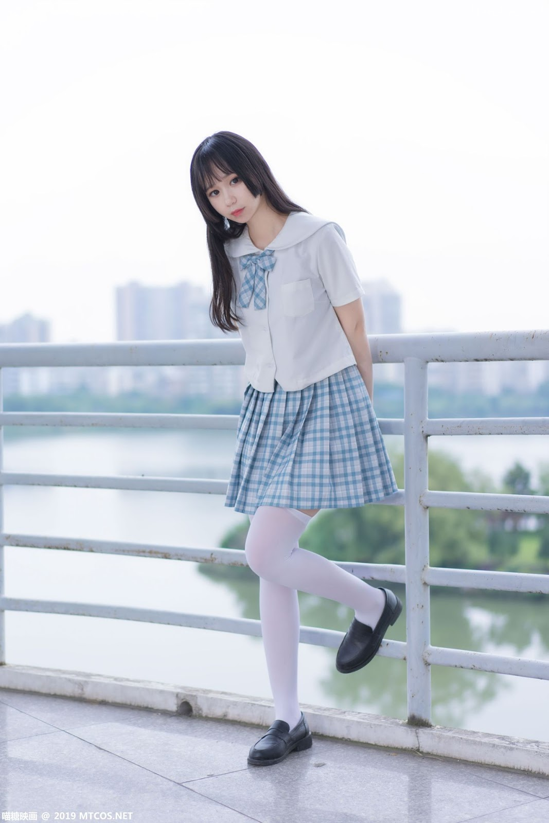 Image [MTCos] 喵糖映画 Vol.015 – Chinese Cute Model - White Shirt and Plaid Skirt - TruePic.net- Picture-7