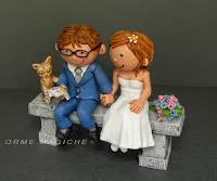 cake topper simpatico cartoon con gattino modellino statuette realizzate a mano orme magiche