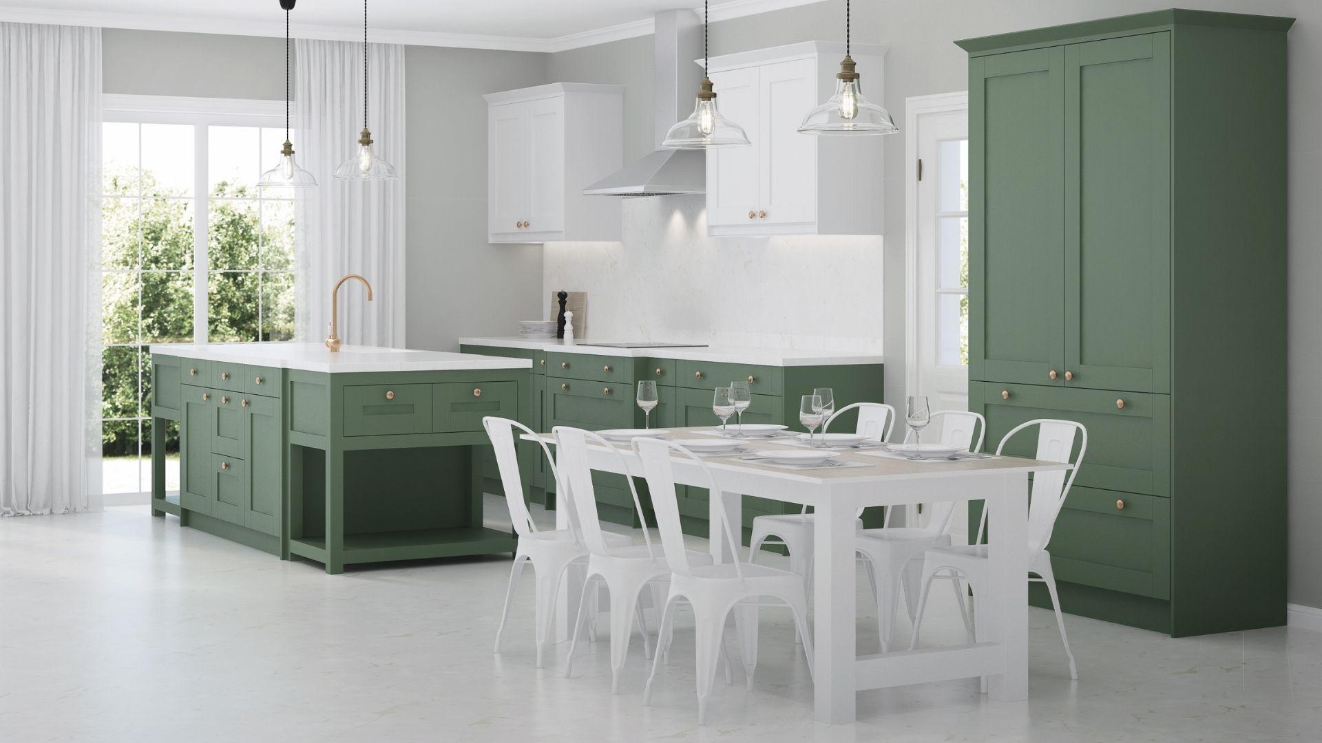 kuchnia w butelkowej zieleni
