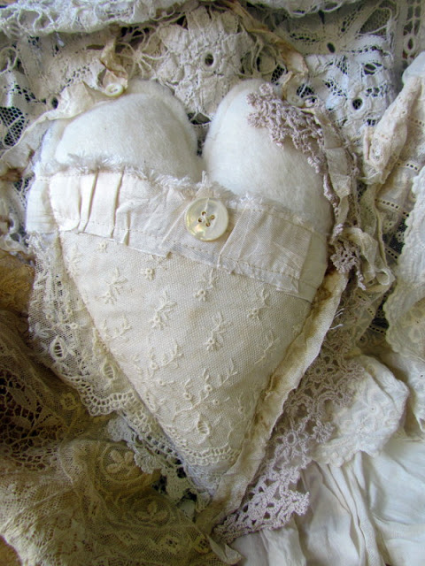 fabric and lace heart by suziqusthreadworks