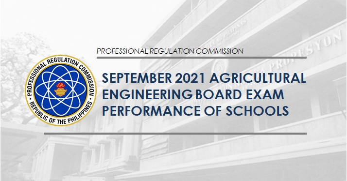 PERFORMANCE OF SCHOOLS: September 2021 Agricultural Engineer board exam results