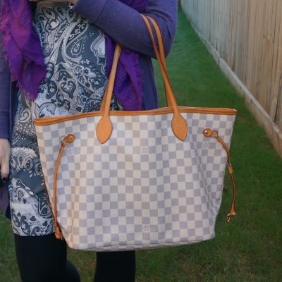 blue and purple outfit with Louis Vuitton MM damier azur neverfull | away from the blue