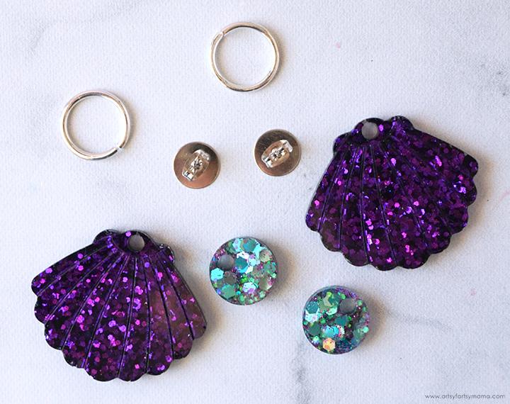 Resin Mermaid Shell Earrings
