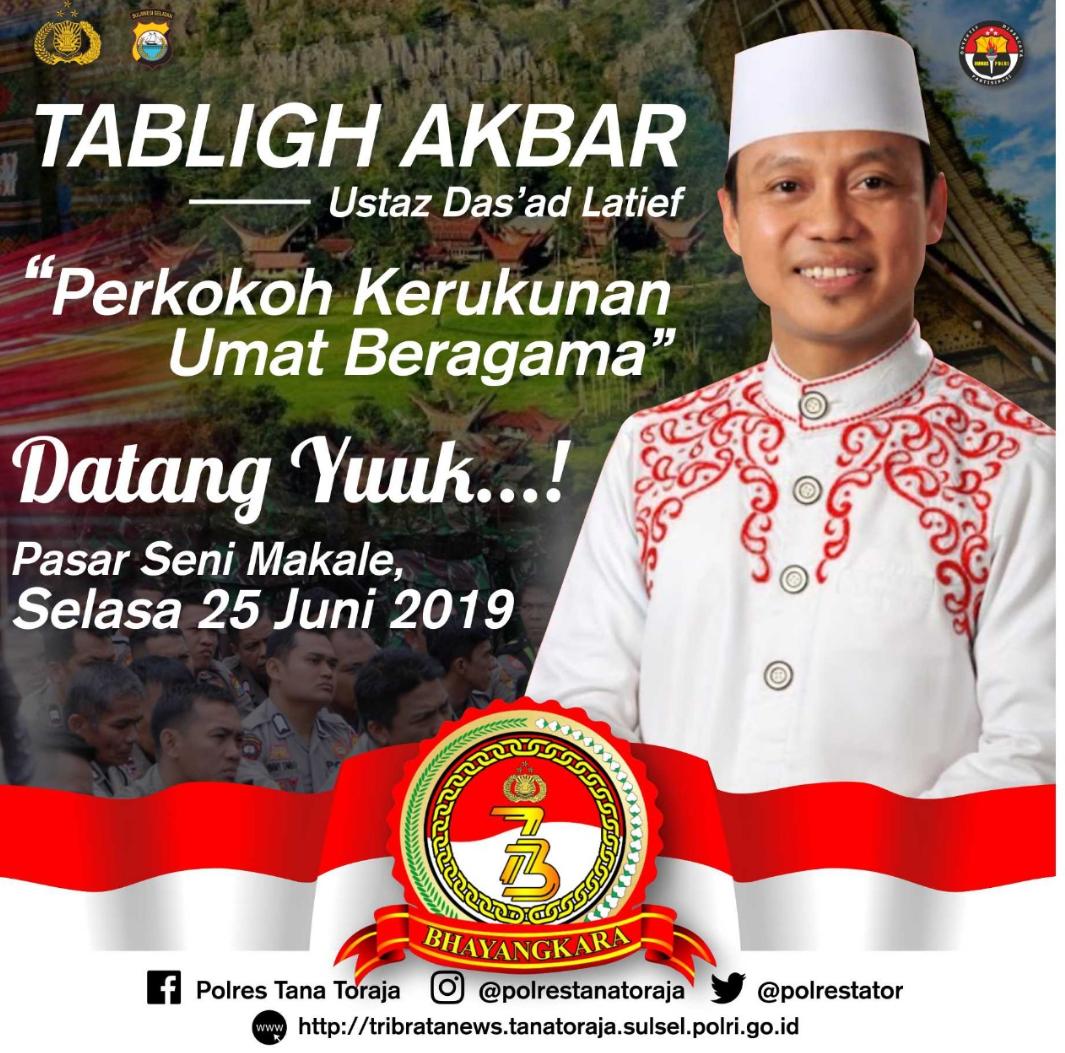 Besok, Polres Tana Toraja Akan Datangkan Ustadz Ternama, Ustadz Das'ad Latif