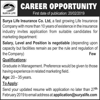 Surya Life Insurance Co. Ltd. Vacancy Notice