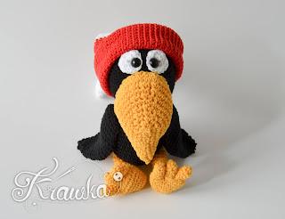 Krawka: Crow Raven in the hat - crochet amigurumi pattern by Krawka