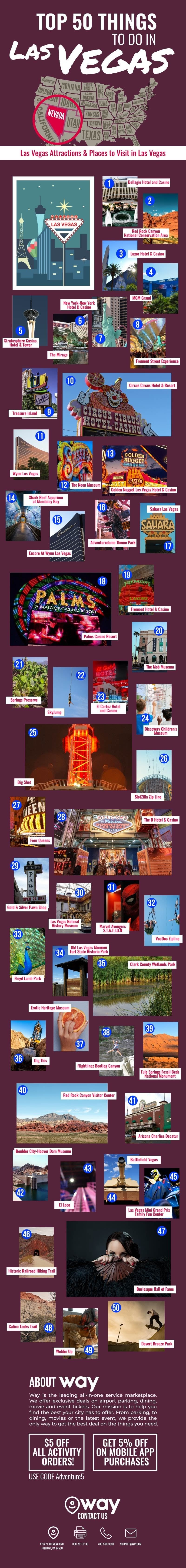 Top 50 Things to Do in Las Vegas #infographic