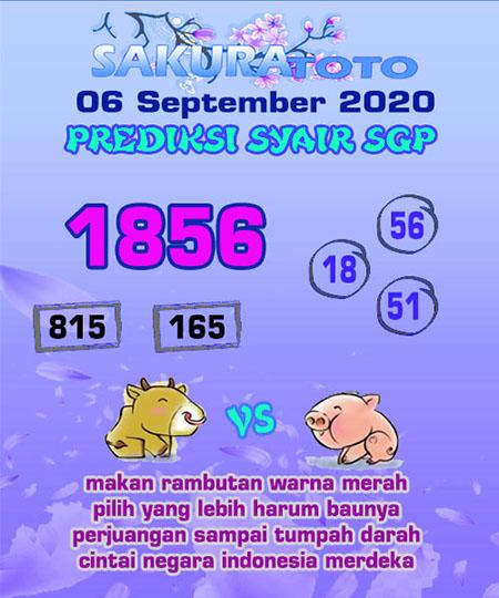 Prediksi Sakuratoto SGP Minggu 06 September 2020