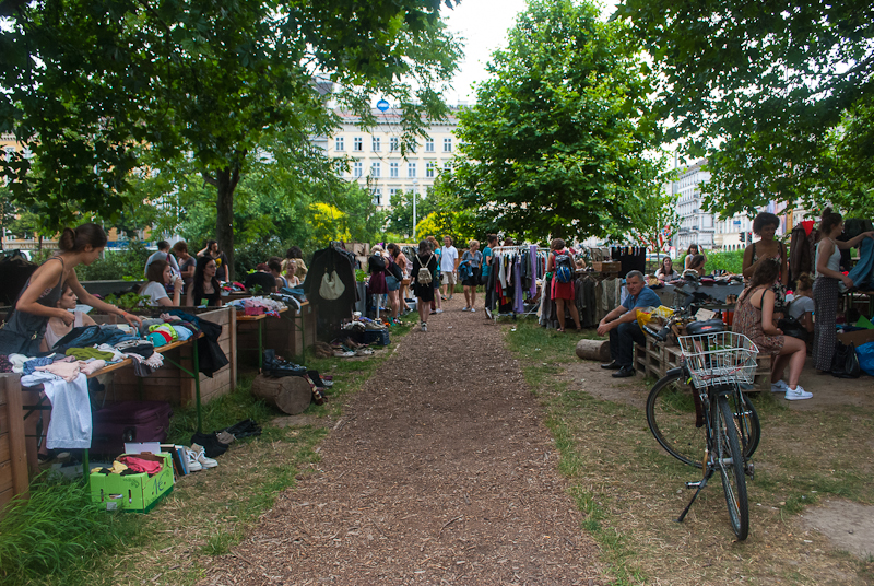 Yard sale in the garden near the Opera House in Vienna, Austria