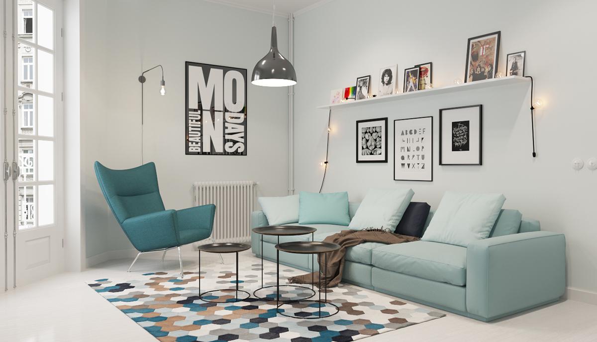 blue scandinavian living room decor
