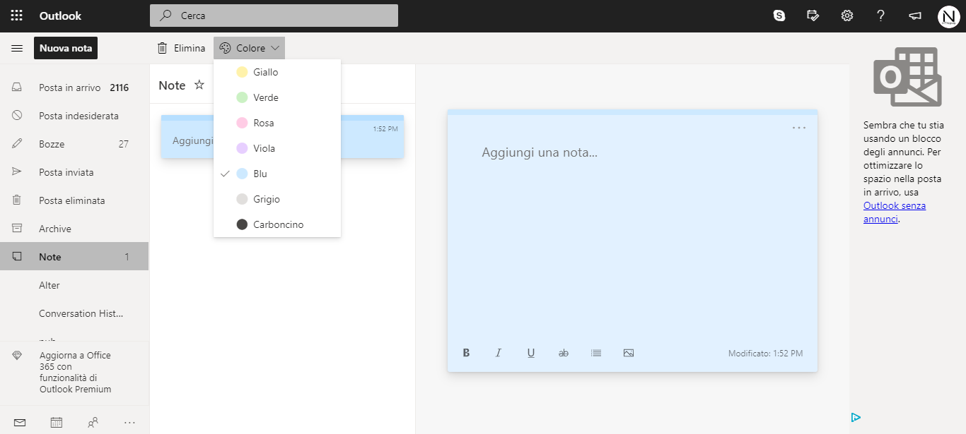 Outlook.com ottiene l'integrazione di Memo (Sticky Notes)