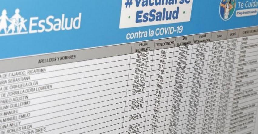 ESSALUD: Padrón oficial del Cuarto Grupo de adultos mayores que serán vacunados [INGRESA TU DNI] www.essalud.gob.pe