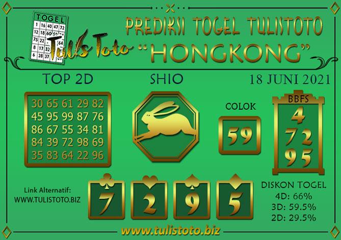 Prediksi Togel HONGKONG TULISTOTO 18 JUNI 2021