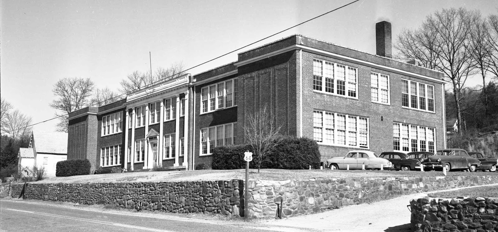 Six Wooden Pilasters Gave The Front Of Rosman High School A Classical  Appearance.