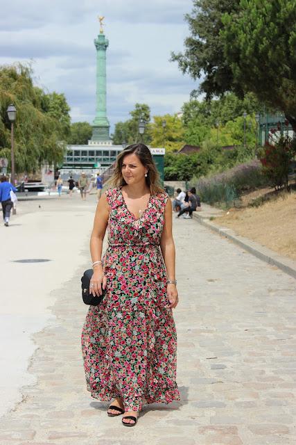 ballade parisienne, quai de l'arsenal, robe sézane, look du jour, les petites bulles de ma vie