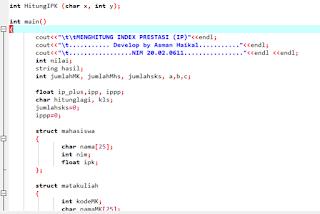Program C++ menghitung IPK Mahasiswa