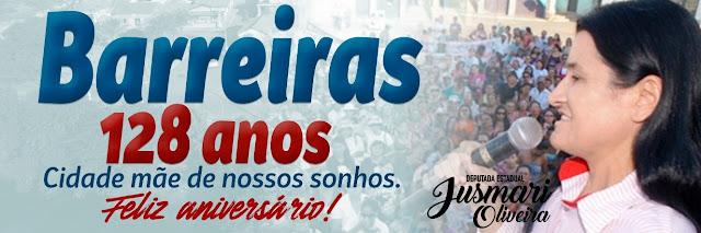 Deputada Jusmari protocola Moção de Aplausos na Assembléia Legislativa da Bahia pelo aniversário de Barreiras