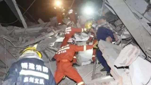 चीन में कोरोना वायरस के 70 मरीजों से भरी इमारत ढही,अब तक 33 लोग बचाए गए