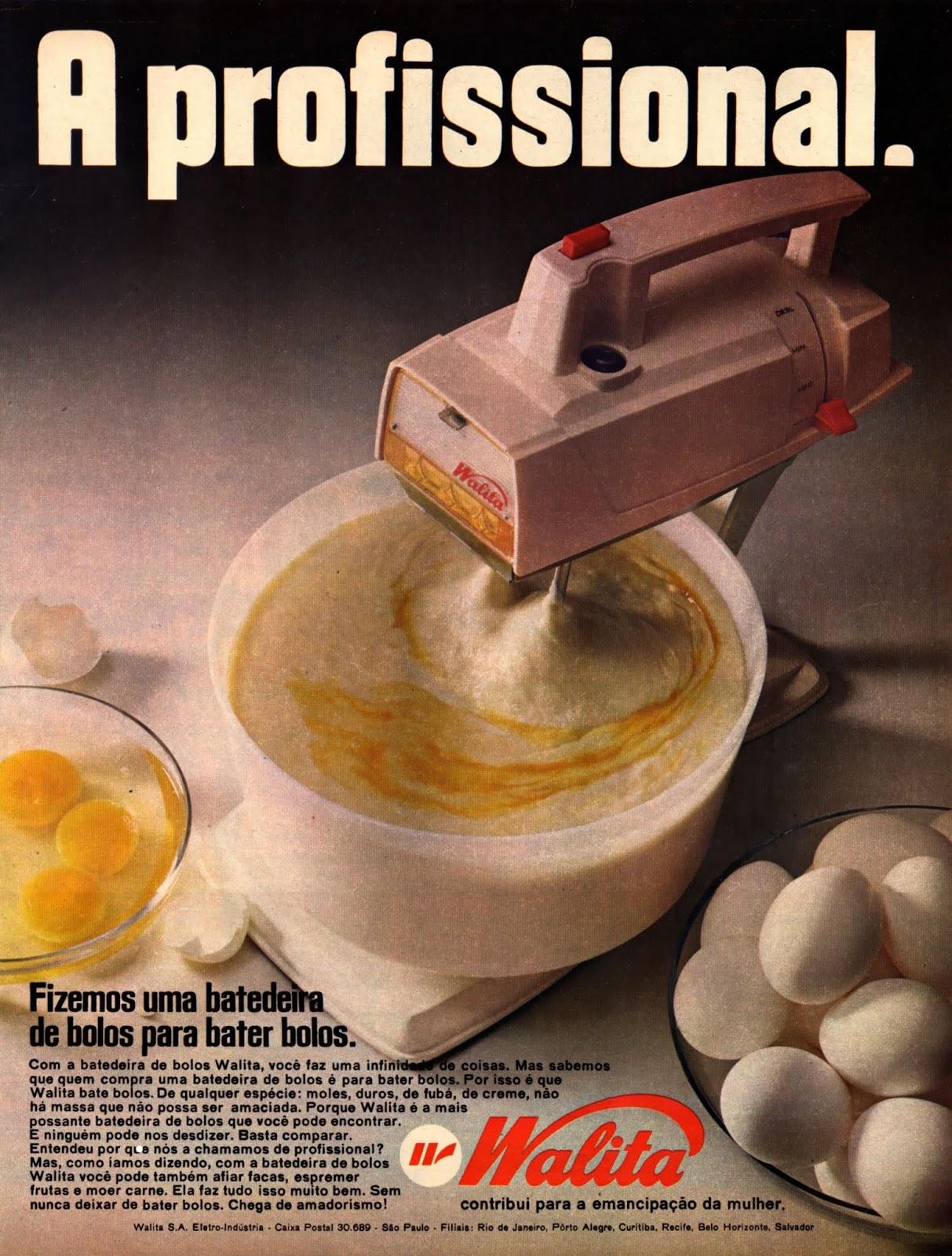Propaganda dos anos 70 da Walita apresentando sua nova batedeira com foco na comunicação para as mulheres