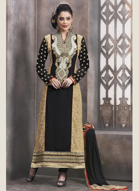 Black and beige salwar suit