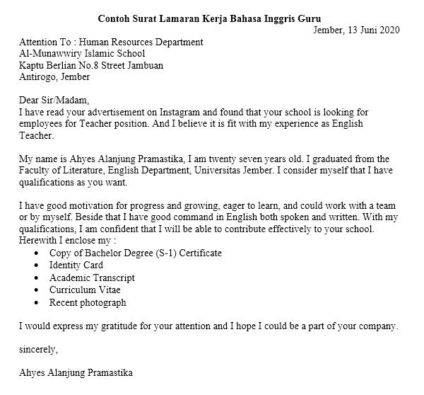 Contoh Surat Lamaran Kerja Bahasa Inggris Guru