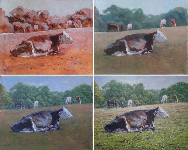 artist painting a cow relaxing M P Davey