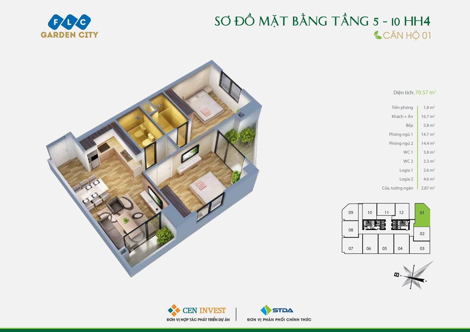 Thiết kế 3D căn 01 tòa HH4