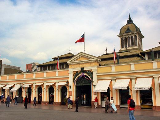 Ponto turístico: Mercado Central em Santiago no Chile